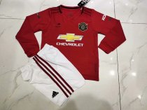 19-20 Manchester United Long Sleeve Children Soccer Uniforms Red