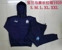 19-20 Men Marseille Royal blue Soccer jacket with hoodies football kits