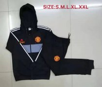 2019/20 Men Manchester United black Soccer jacket with hoodies football kits