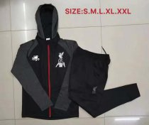 19-20 Men Liverpool black Soccer jacket with hoodies football kits