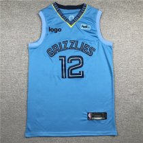19/20 Adult Grizzlies basketball jersey shirt Morant 12 light blue