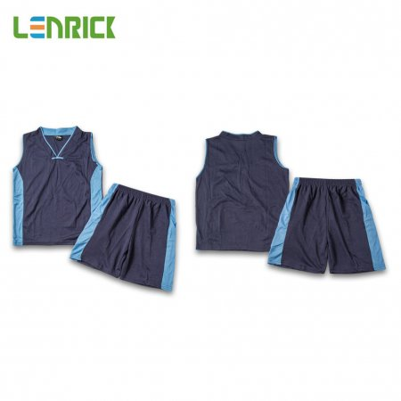 Lenrick Adult NBA Basketball Jersey Uniform Dark Blue Youth Basketball Tracksuit Sets Shirt+Short