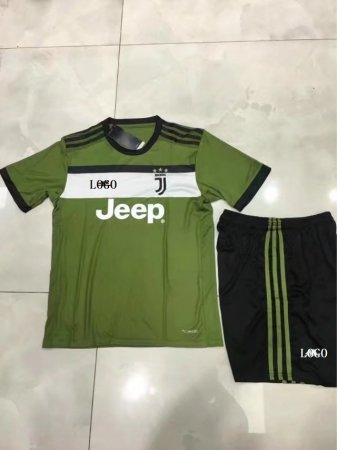 2017/18 Boys Juventus Third Away Soccer Jersey Uniform Green/Black Kids Football Team Kits