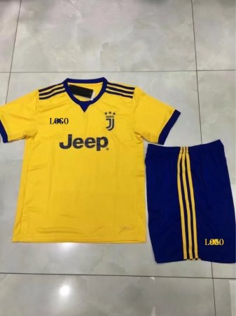abfbadbc671 17-18 Cheap Kids Juventus Away Soccer Jersey Uniform Yellow Younth Football  Set Soccer uniforms kits Item NO: 450822