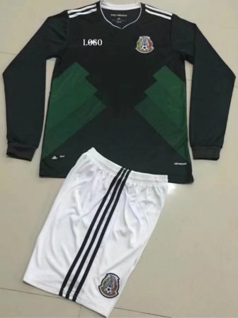 17/18 Mexico Home Adult Long Sleeve Soccer Jersey Uniform Men Football Kits Design Name Number