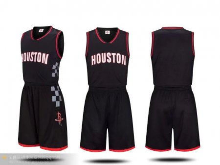 Men's Houston Rockets  Black  Jersey  Uniforms Cheap Basketball Kits