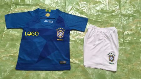 2018 Kids Russia World Cup Brazil Away Soccer Uniforms Children Football Kits Blue
