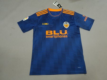 18-19  Men Valencia Away Blue Soccer Jersey -Thai Quality