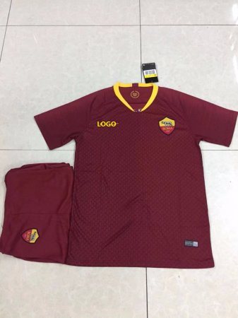 2018/19 AAA Men Roma Home Red Soccer Uniform Adult Football Kits