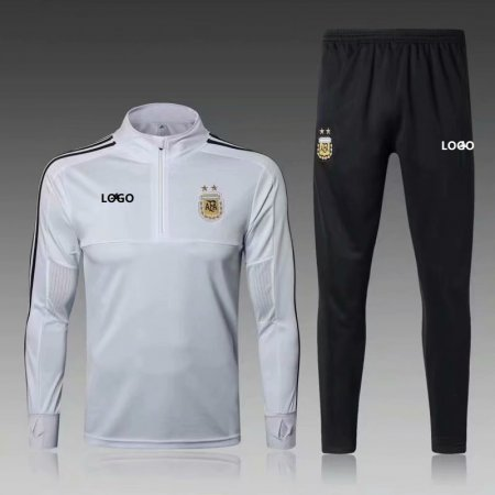 2018/19 Men Argentina White Soccer Tracksuit Adult Football Training Suit