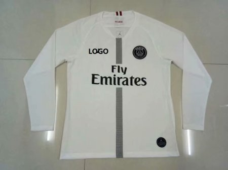 2018/19 Thai Quality PSG WHITE LONG SLEEVE JORDAN SOCCER JERSEY Men Football Shirt