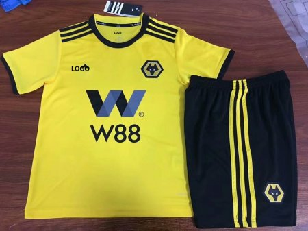 2018/19 Child Wolverhampton Wanderers Home Yellow Soccer Jerseys Uniform Sets