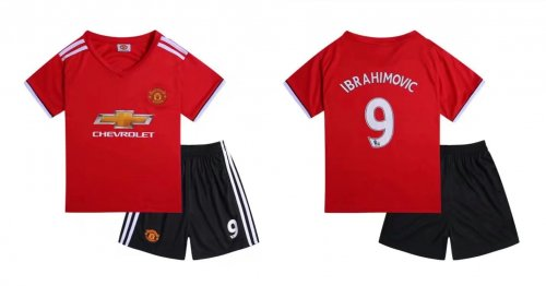 meet 5709c bb534 17-18 Cheap Kids Manchester United Home Red Soccer Jersey Uniform  Ibrahimovic 9 Child Football Jersey Kits Shirt+Short