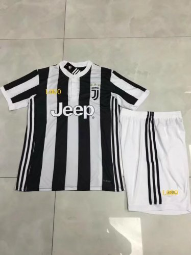pretty nice c111f e4d20 17-18 Cheap Kids Juventus Home Soccer Jersey Uniform Black Child Football  Jersey Team For Sale