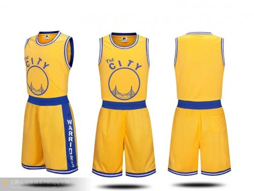 wholesale dealer 55a63 e95dd Adult Golden State Warriors Stephen Curry Kits Royal Fast Break Replica  Basketball Yellow Jersey Uniforms