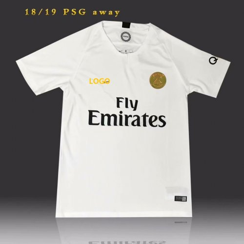 new arrival 227b1 ed053 18-19 PSG white Soccer Jersey-Thai Quality Gold Logo Football Shirt Custom  Name And Number