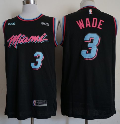 buy online ff934 df0c3 adult miami vice heat city basketball jersey black 3