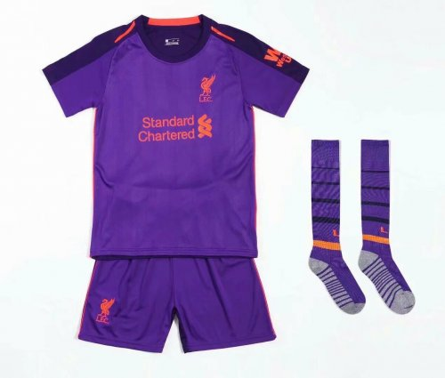 best website a8459 4b078 2018/19 Kids Liverpool Purple Soccer Jersey Kits Football Uniforms