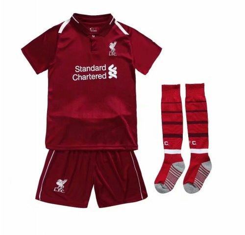 buy online cd674 693cf 2018/19 Kids Liverpool Home Red Soccer Jersey KitsFootball Uniforms