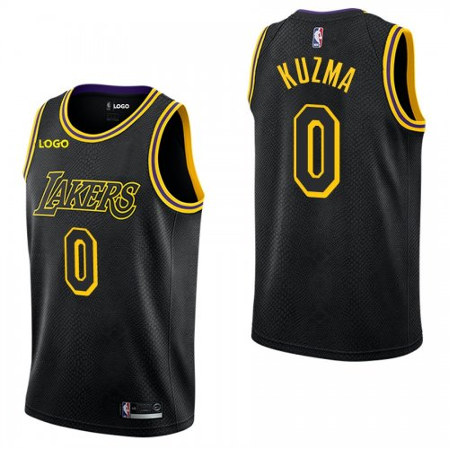 reputable site 64ba9 75e4b Lakers Kyle Kuzma #0 City Black Basketball Jersey Adult Shirt