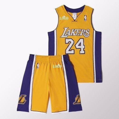 premium selection cafa2 aa5a0 Kids LA Lakers 24 Yellow Set Jersey & Shorts