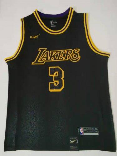 size 40 efbf8 2fe3a 2019/20 Adult Los Angeles lakers 3 davis balck City version basketball  jersey
