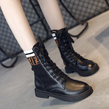 FY708- 2018 Fashion women boots lace up low heels casual female autumn knitting mid calf boots ladies shoes