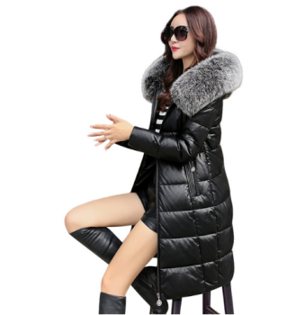 LQ006-Black red grey soft leather natural fox fur white duck fur hood women lady long style warm slim genuine downcoat winter jacket