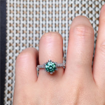 Silver-encrusted natural jade myelin ring genuine fashion women's ring jade jewelry