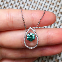 Natural Green Agate Chalcedony Pendant Necklace Silver Inlay Pendant Women Gift Water Drop Necklace Pendant Jade Jewelry