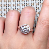 Fashion Engagemen Crystal Rings Womens Girls Silver Filled Wedding Ring Set Lover Wedding Jewelry Party Gift 2019
