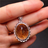 Natural Gold Agate Beads Pendant Necklace Simple Gold Jade Pulp Bead Gift Women Fine Stone woman gifts Jewelry New