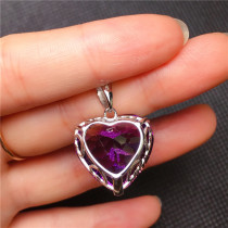 Fashion Angel Heart Shape Pendant Necklace with Amethyst Crystal for Women Fine Jewelry Valentine's Day Gifts