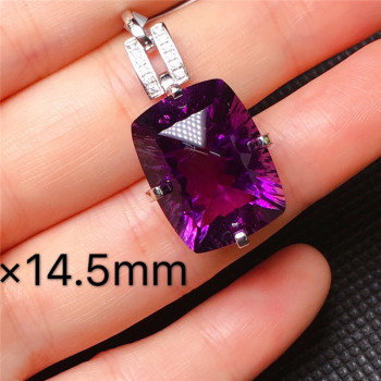Purple Diamond Pendant Natural Emerald Blue Rectangle Necklace for Women Peridot Bizuteria Gemstone Jade Jewelry Pendant