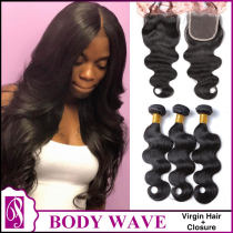 Body Wave Virgin Hair With Closure 3+1