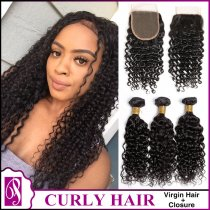 Curl Virgin Hair With Closure 3+1