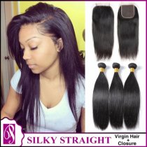 Silky Straight Virgin Hair With Closure 3+1