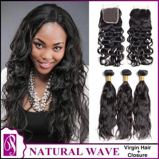 Natural Wave Virgin Hair With Closure 3+1
