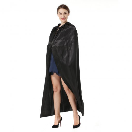 Sdsaena deluxe party Halloween Hooded Cloak Party Cosplay Robe Cloak black 57  adult cape pack of one