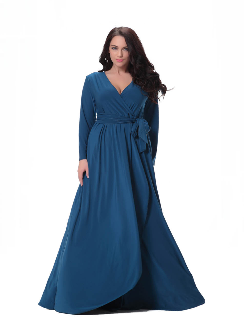 Good Quality Elegant Women Navy Blue Evening Dress V Neck Plus Size ...