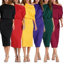 Oblique Neck Autumn Winter Party Dresses Women Latest Dress Designs