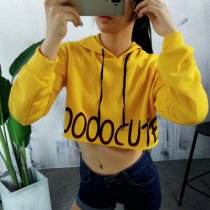 Womens Pure Color Simple Letter Printed Drawstring Hoodies Pullover Sweatshirts Crop Tops
