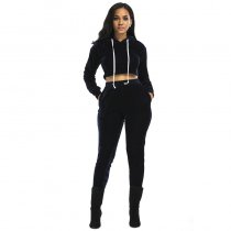 Crop Top Long Pant Casual Sport Wear Velvet Two Piece Set Ladies