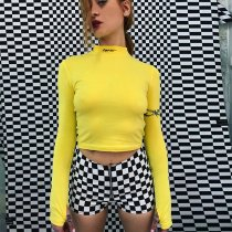 Women Sexy Long Sleeve Slim Fit High Neck Leter Print Short Skinny Crop Top T-Shirts Yellow