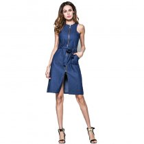 New Design Ladies Cotton Long Blue Jean Dress Zip Dress Vest Denim Shirt Dress