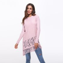 Knit Tops Winter Clothing Tassel Long Sweaters Pullovers Pink