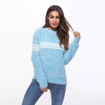 Long Sleeve Striped Sweater Casual Jumpers Blue
