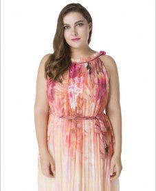 Fashionable Design Fat Women Large Plus Size Chiffon Maxi Dress Flower Printed Sleeveless Pink Long Dress