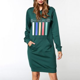 Wholesale Green Round Neck Hoodie Dress Womens