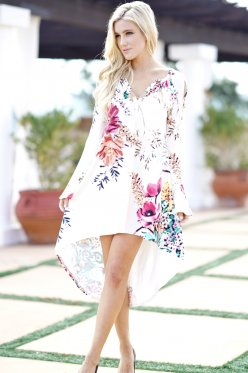 Floral Print Dress Sexy V Neck Long Flare Sleeve Elegant Women Dress Back Long Front Short Irregular Beach Vestidos